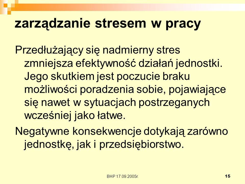 BHP 17.09.2005r.15 zarządzanie stresem w pracy Przedłużający się nadmierny stres zmniejsza efektywność działań jednostki. Jego skutkiem jest poczucie