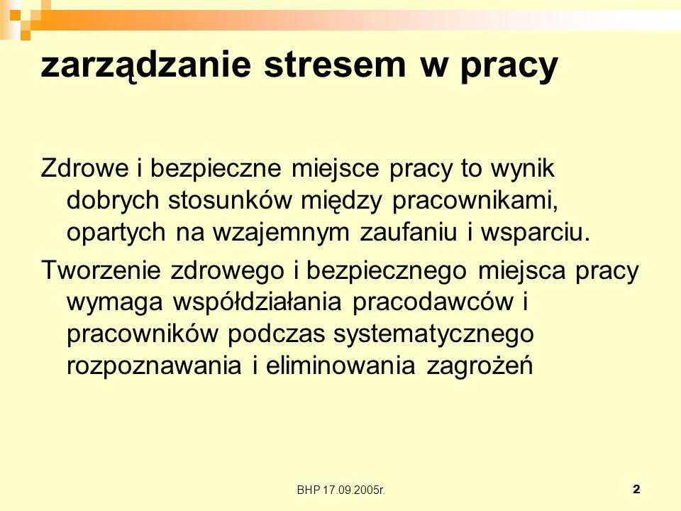 BHP 17.09.2005r.13 zarządzanie stresem w pracy Kiedy nie jesteśmy w stanie osiągnąć celów, które sobie wytyczyliśmy.