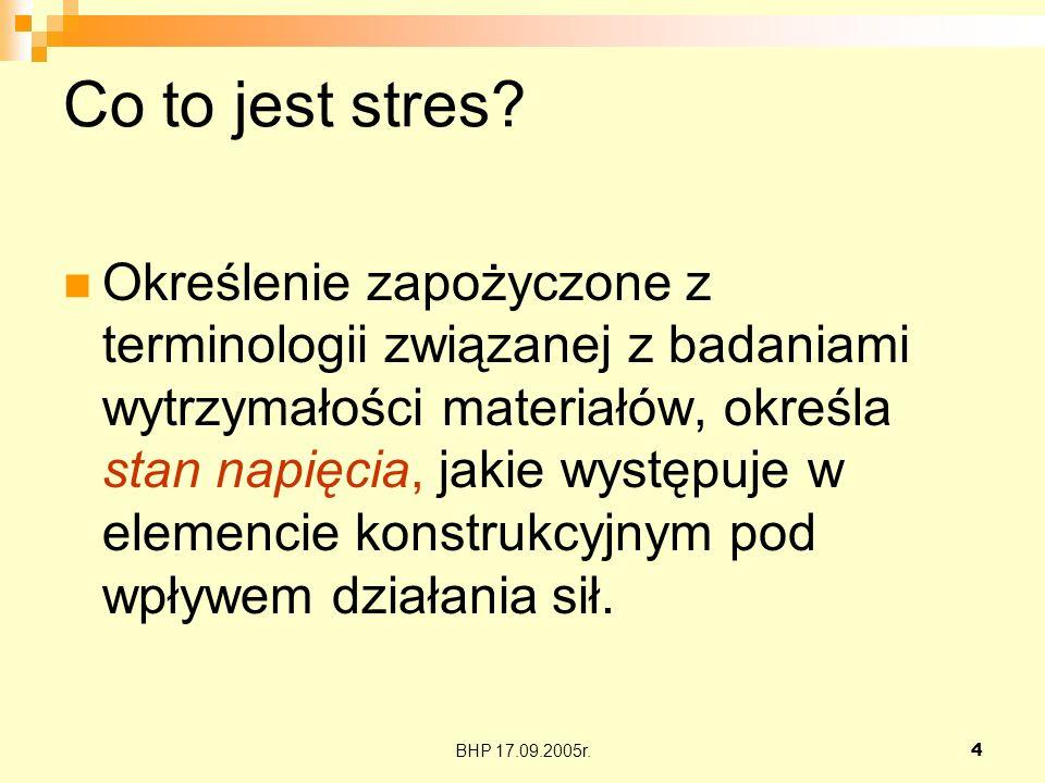 BHP 17.09.2005r.5 Stresory Stresory- to wydarzenia lub okoliczności, które wywołują u jednostki poczucie, że fizyczne lub psychiczne wymagania przerastają jej możliwości poradzenia sobie w danej sytuacji.