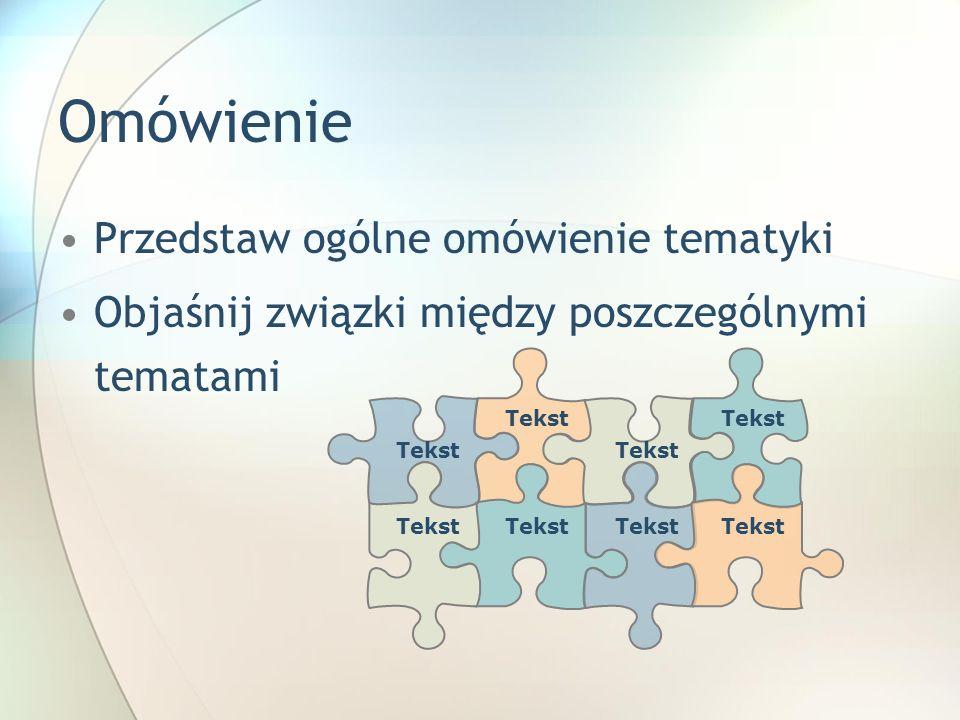 Omówienie Przedstaw ogólne omówienie tematyki Objaśnij związki między poszczególnymi tematami Tekst