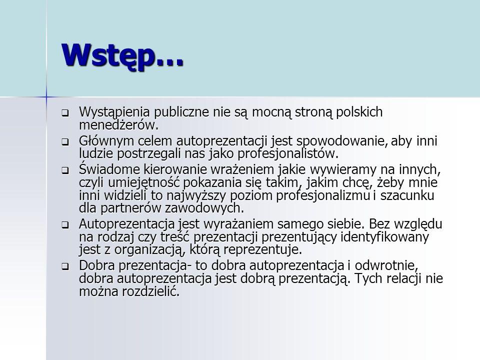 Wstęp… Wystąpienia publiczne nie są mocną stroną polskich menedżerów. Wystąpienia publiczne nie są mocną stroną polskich menedżerów. Głównym celem aut