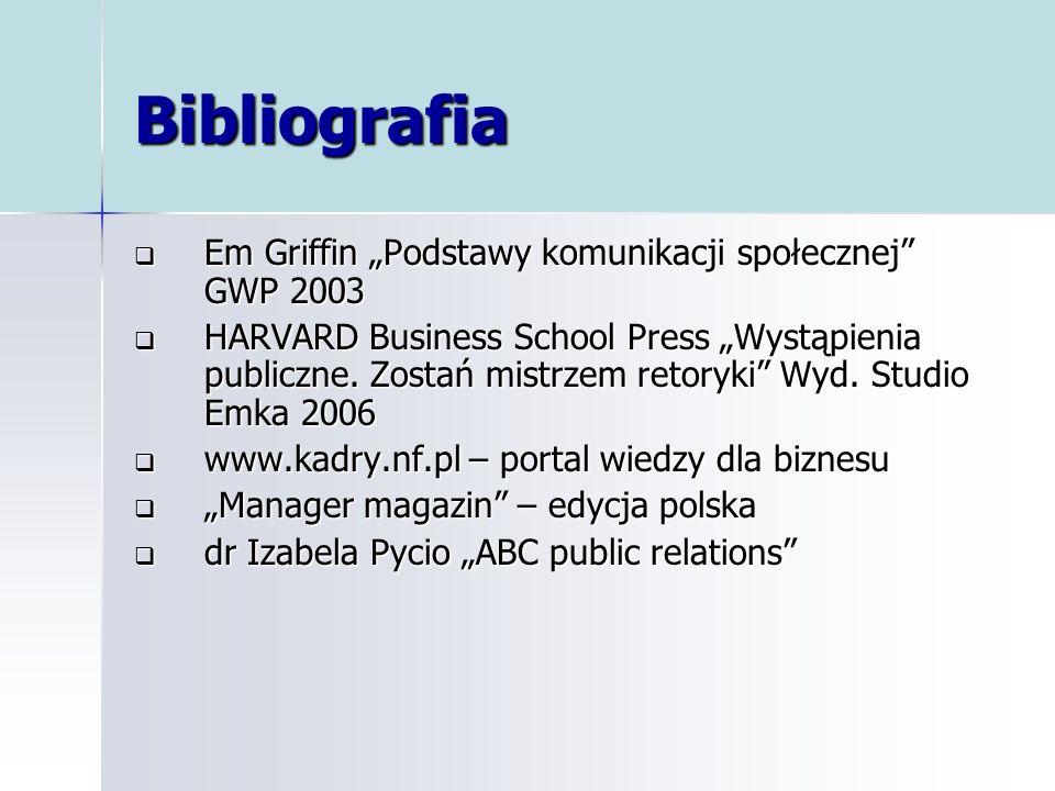 Bibliografia Em Griffin Podstawy komunikacji społecznej GWP 2003 Em Griffin Podstawy komunikacji społecznej GWP 2003 HARVARD Business School Press Wys