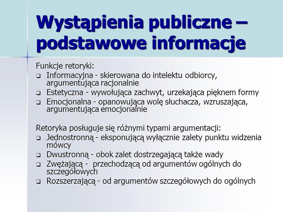 Wystąpienia publiczne – podstawowe informacje Funkcje retoryki: Informacyjna - skierowana do intelektu odbiorcy, argumentująca racjonalnie Informacyjn