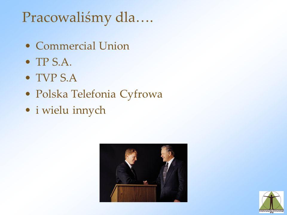 Pracowaliśmy dla…. Commercial Union TP S.A. TVP S.A Polska Telefonia Cyfrowa i wielu innych