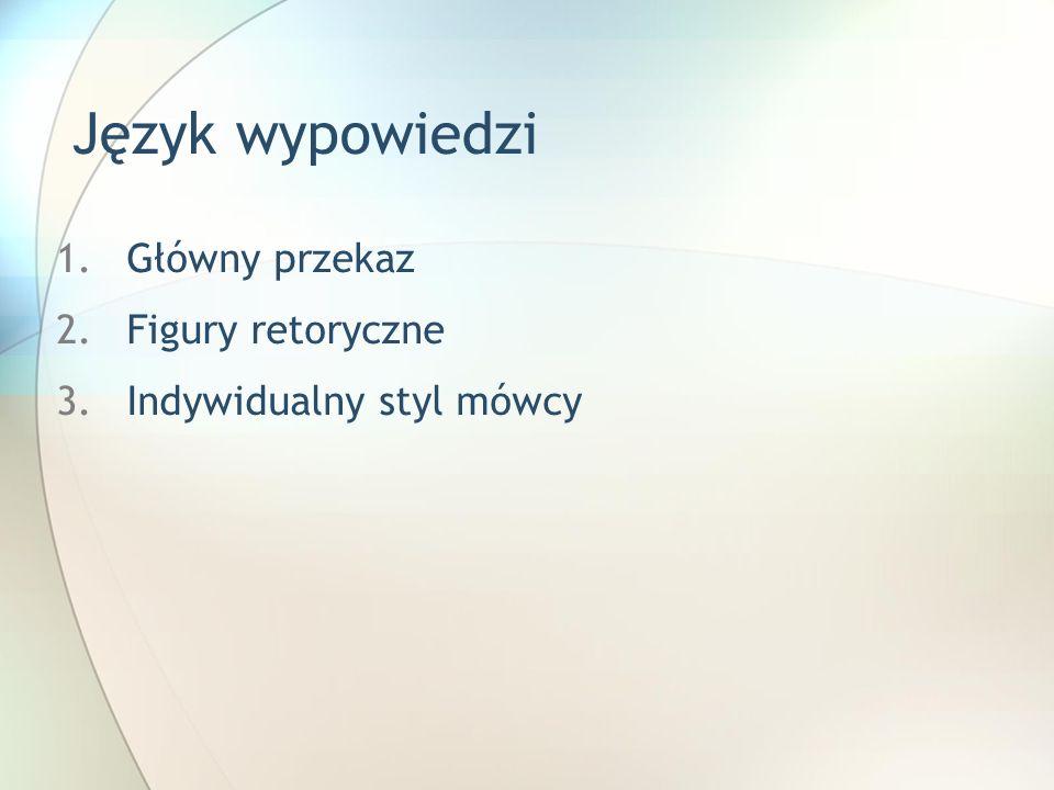 Język wypowiedzi 1.Główny przekaz 2.Figury retoryczne 3.Indywidualny styl mówcy