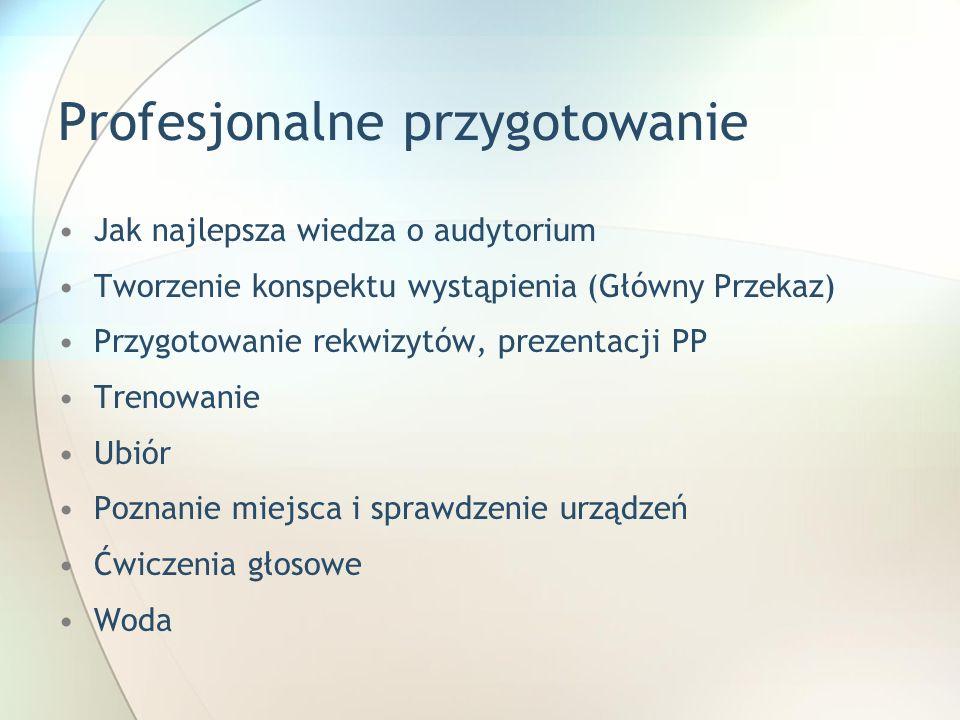 Profesjonalne przygotowanie Jak najlepsza wiedza o audytorium Tworzenie konspektu wystąpienia (Główny Przekaz) Przygotowanie rekwizytów, prezentacji P