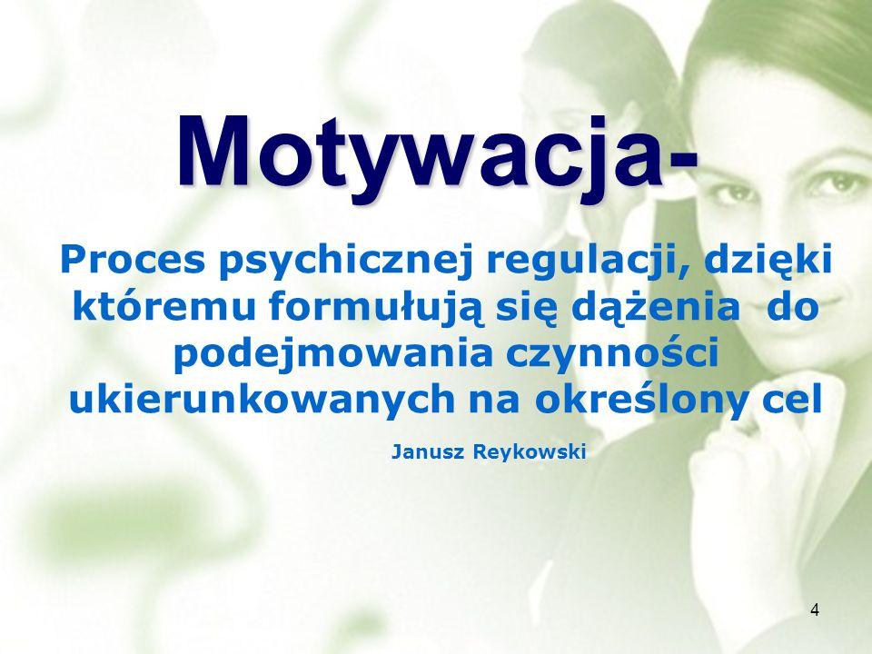 Motywacja- 4 Proces psychicznej regulacji, dzięki któremu formułują się dążenia do podejmowania czynności ukierunkowanych na określony cel Janusz Reyk