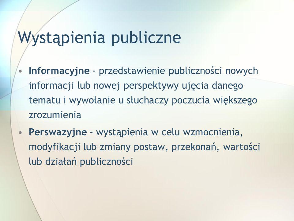 Wystąpienia publiczne Informacyjne - przedstawienie publiczności nowych informacji lub nowej perspektywy ujęcia danego tematu i wywołanie u słuchaczy
