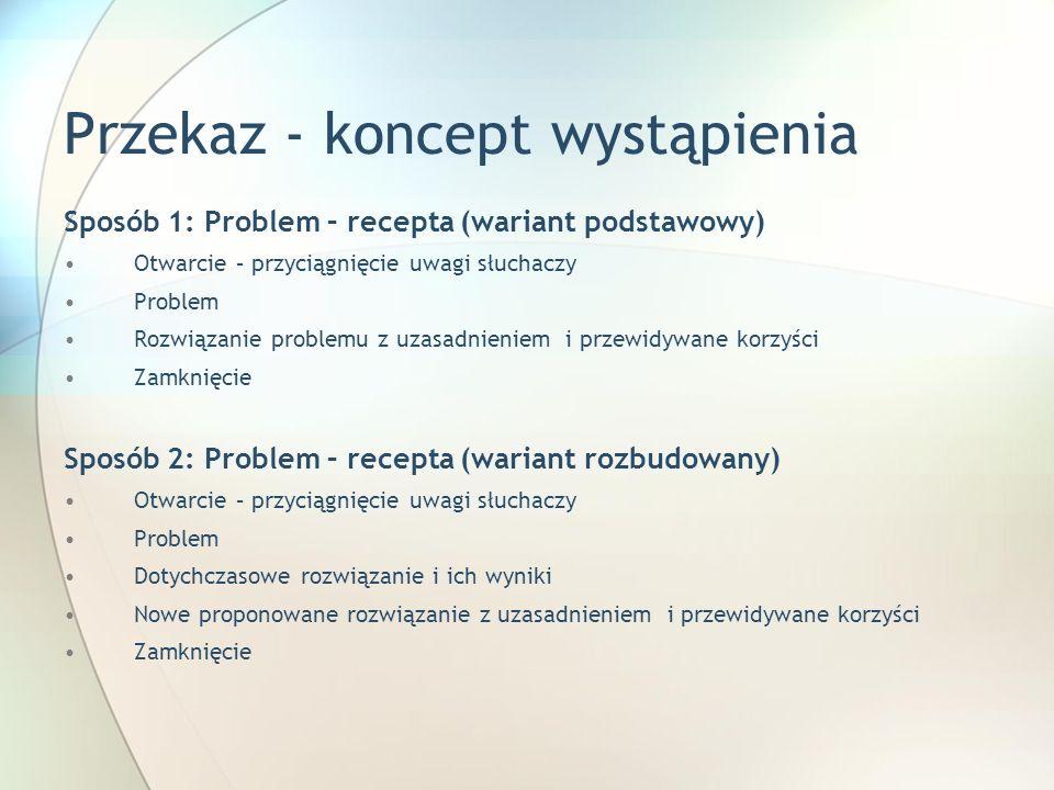 Przekaz - koncept wystąpienia Sposób 1: Problem – recepta (wariant podstawowy) Otwarcie – przyciągnięcie uwagi słuchaczy Problem Rozwiązanie problemu
