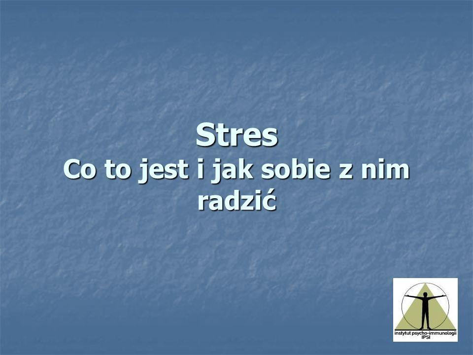 Reakcja stresowa Pojawia się w sytuacjach zagrożenia, lub niepewności, bądź w sytuacjach ograniczenia kontroli nad sytuacją.