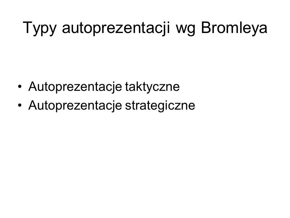 Typy autoprezentacji wg Bromleya Autoprezentacje taktyczne Autoprezentacje strategiczne
