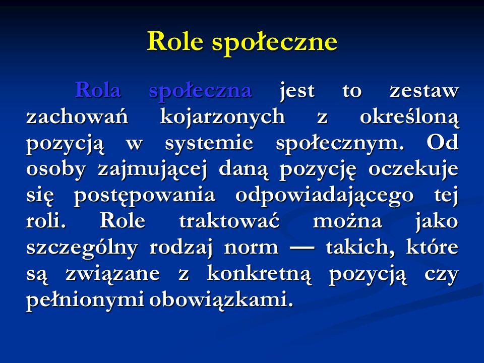 Role społeczne Rola społeczna jest to zestaw zachowań kojarzonych z określoną pozycją w systemie społecznym. Od osoby zajmującej daną pozycję oczekuje