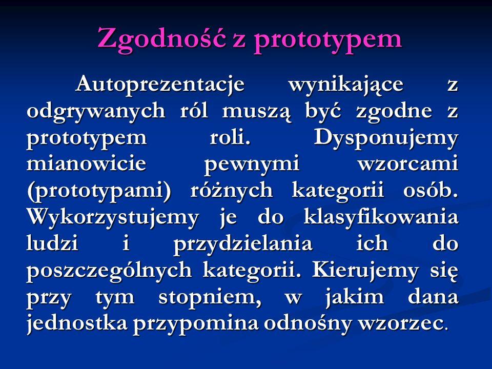 Zgodność z prototypem Autoprezentacje wynikające z odgrywanych ról muszą być zgodne z prototypem roli. Dysponujemy mianowicie pewnymi wzorcami (protot
