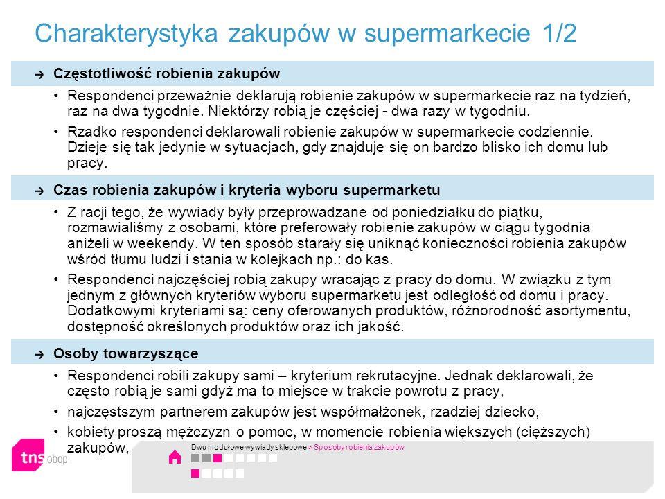 Charakterystyka zakupów w supermarkecie 1/2 Częstotliwość robienia zakupów Respondenci przeważnie deklarują robienie zakupów w supermarkecie raz na ty