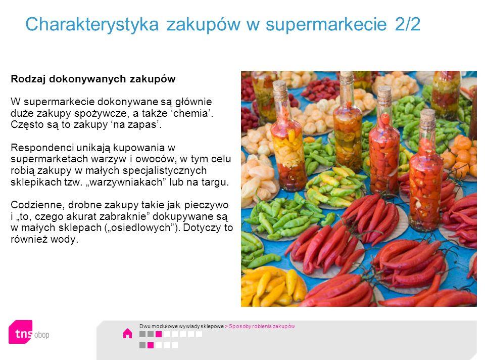 Charakterystyka zakupów w supermarkecie 2/2 Rodzaj dokonywanych zakupów W supermarkecie dokonywane są głównie duże zakupy spożywcze, a także chemia. C