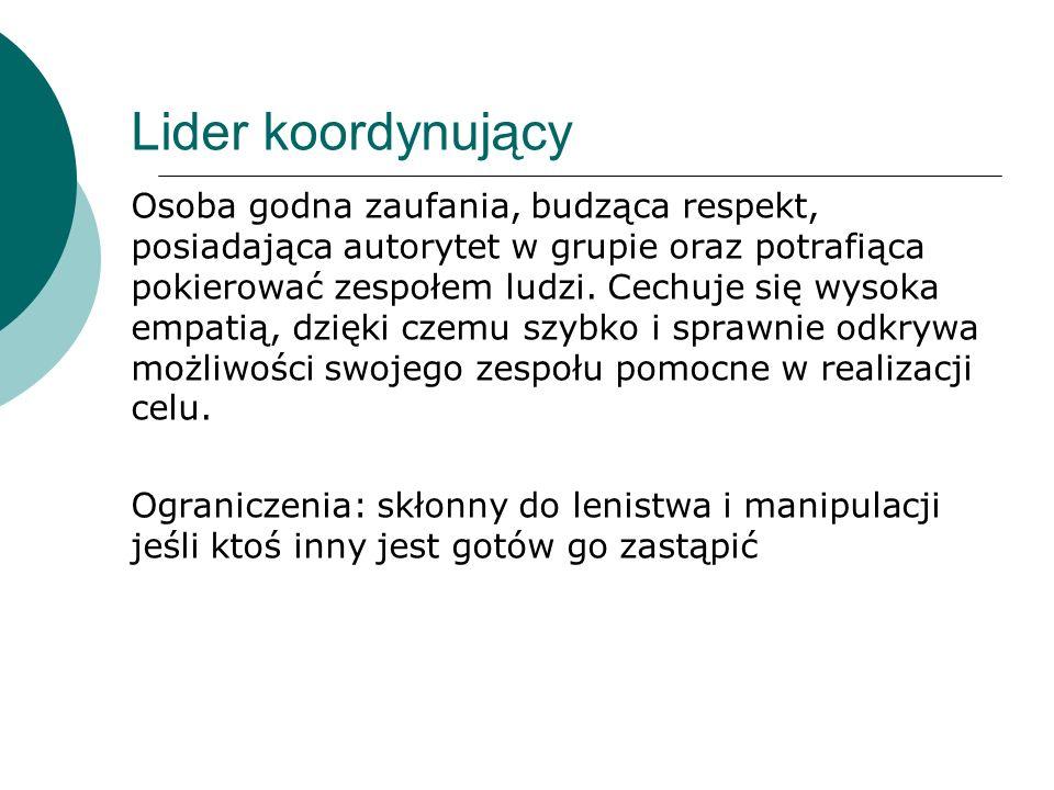 Ambitny komendant (Lokomotywa) Dominujący ekstrawertyk kierujący działaniami zespołu.