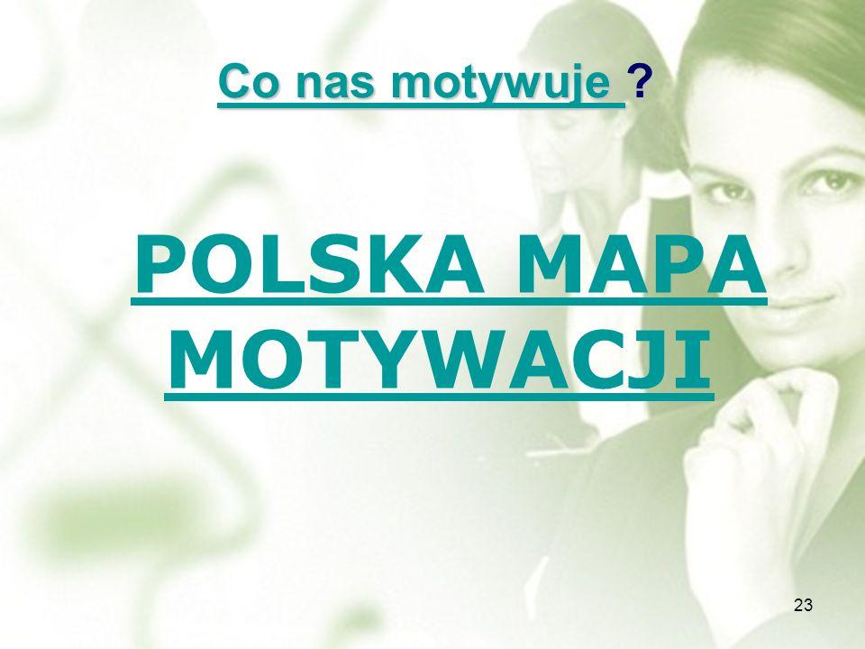Co nas motywuje Co nas motywuje ? Co nas motywuje POLSKA MAPA MOTYWACJI POLSKA MAPA MOTYWACJI 23