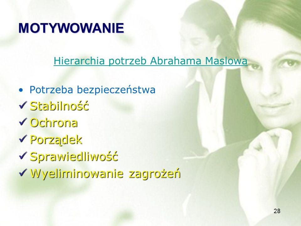 28 MOTYWOWANIE Hierarchia potrzeb Abrahama Maslowa Potrzeba bezpieczeństwa Stabilność Stabilność Ochrona Ochrona Porządek Porządek Sprawiedliwość Sprawiedliwość Wyeliminowanie zagrożeń Wyeliminowanie zagrożeń