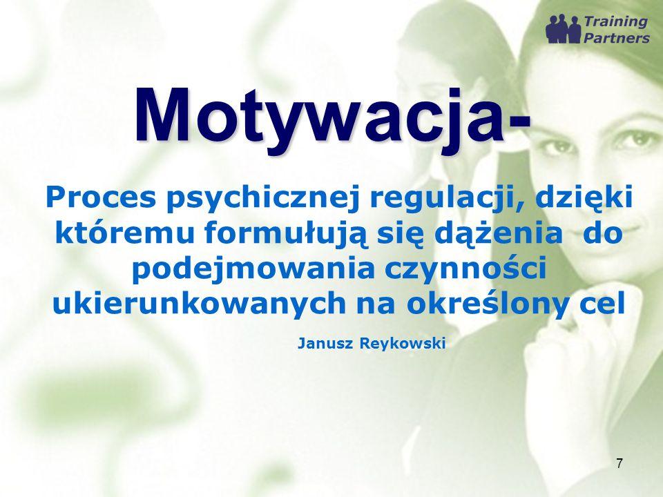 Motywacja- 7 Proces psychicznej regulacji, dzięki któremu formułują się dążenia do podejmowania czynności ukierunkowanych na określony cel Janusz Reyk