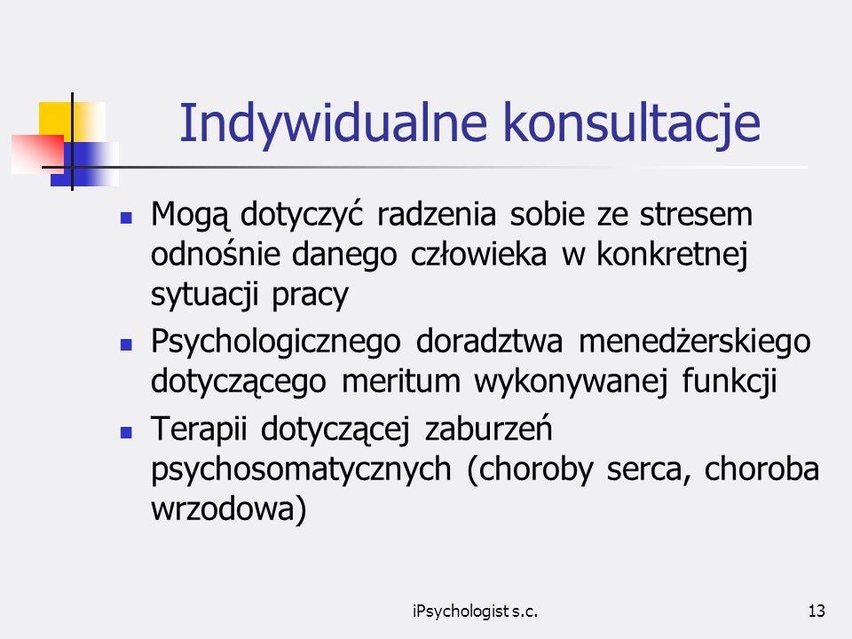 iPsychologist s.c.13 Indywidualne konsultacje Mogą dotyczyć radzenia sobie ze stresem odnośnie danego człowieka w konkretnej sytuacji pracy Psychologicznego doradztwa menedżerskiego dotyczącego meritum wykonywanej funkcji Terapii dotyczącej zaburzeń psychosomatycznych (choroby serca, choroba wrzodowa)