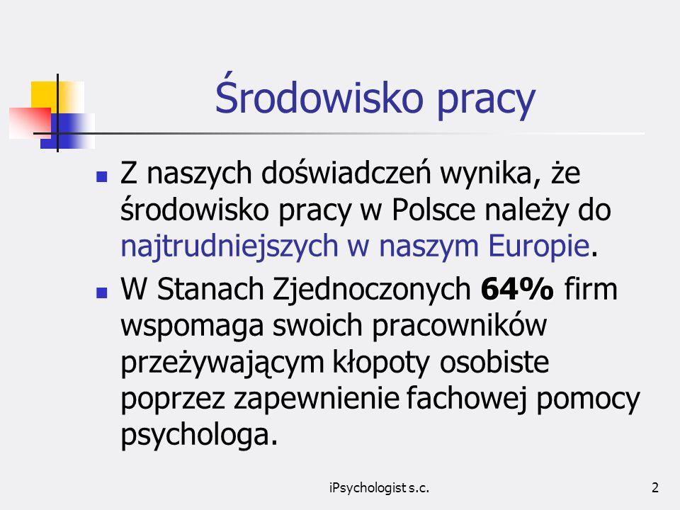 iPsychologist s.c.2 Środowisko pracy Z naszych doświadczeń wynika, że środowisko pracy w Polsce należy do najtrudniejszych w naszym Europie.