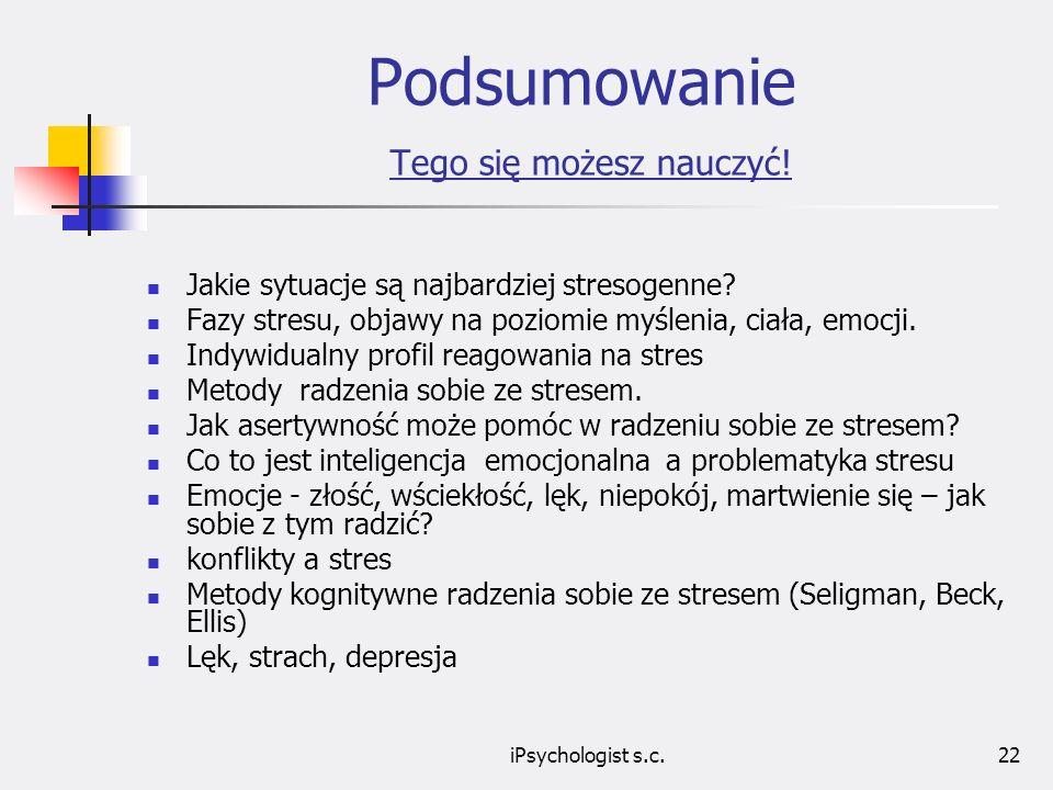 iPsychologist s.c.23 Podsumowanie Tego się możesz nauczyć.