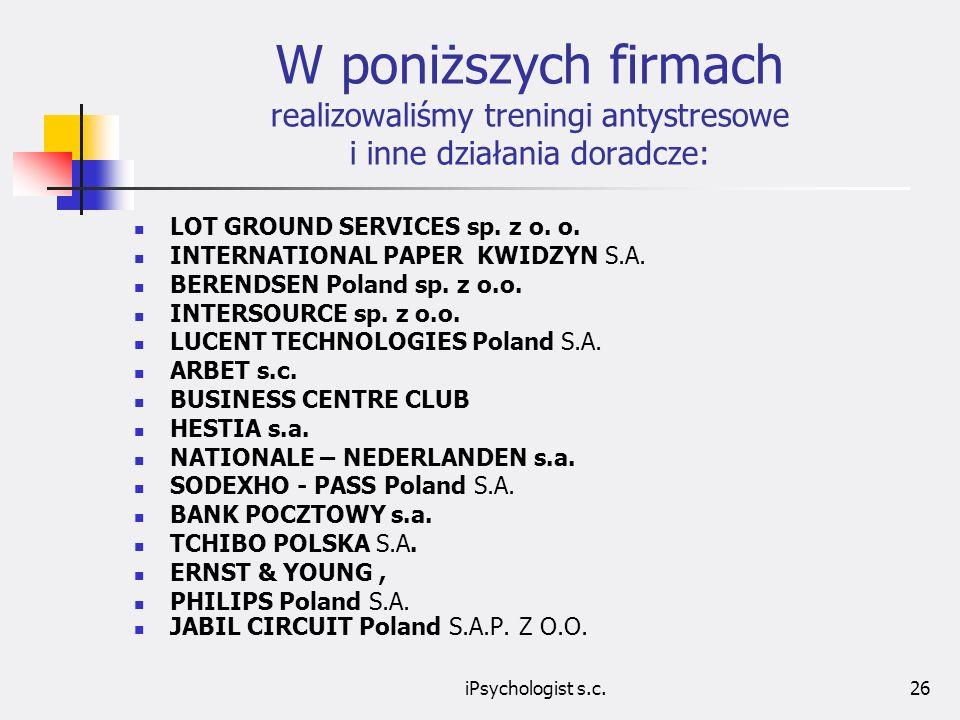 iPsychologist s.c.26 W poniższych firmach realizowaliśmy treningi antystresowe i inne działania doradcze: LOT GROUND SERVICES sp.