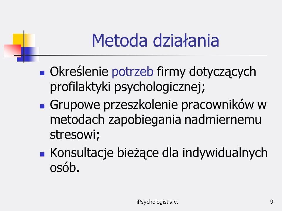 iPsychologist s.c.9 Metoda działania Określenie potrzeb firmy dotyczących profilaktyki psychologicznej; Grupowe przeszkolenie pracowników w metodach zapobiegania nadmiernemu stresowi; Konsultacje bieżące dla indywidualnych osób.