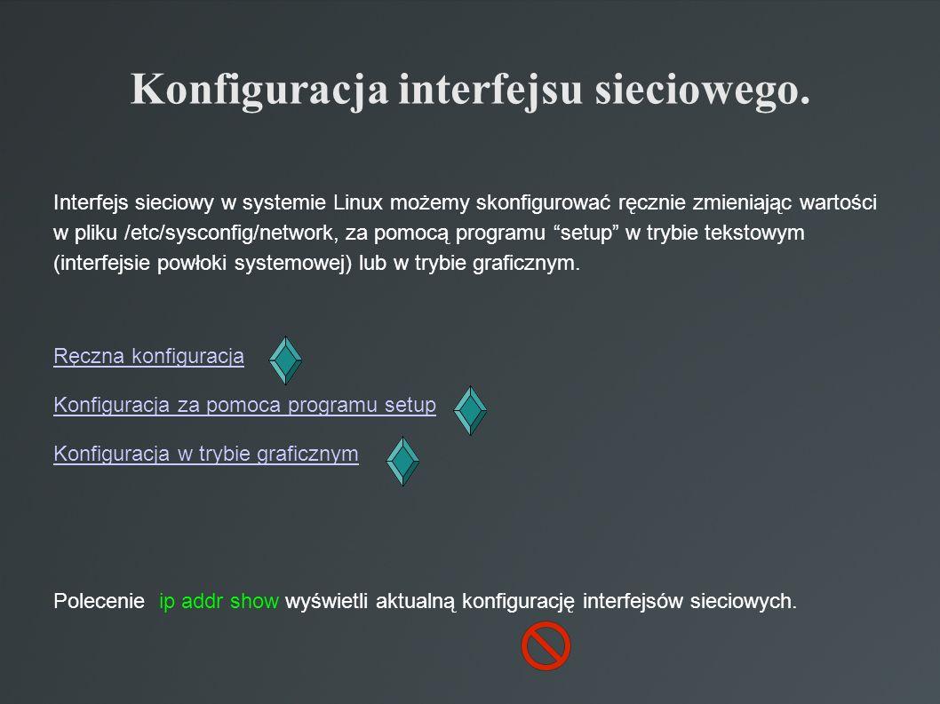 Konfiguracja interfejsu sieciowego. Interfejs sieciowy w systemie Linux możemy skonfigurować ręcznie zmieniając wartości w pliku /etc/sysconfig/networ