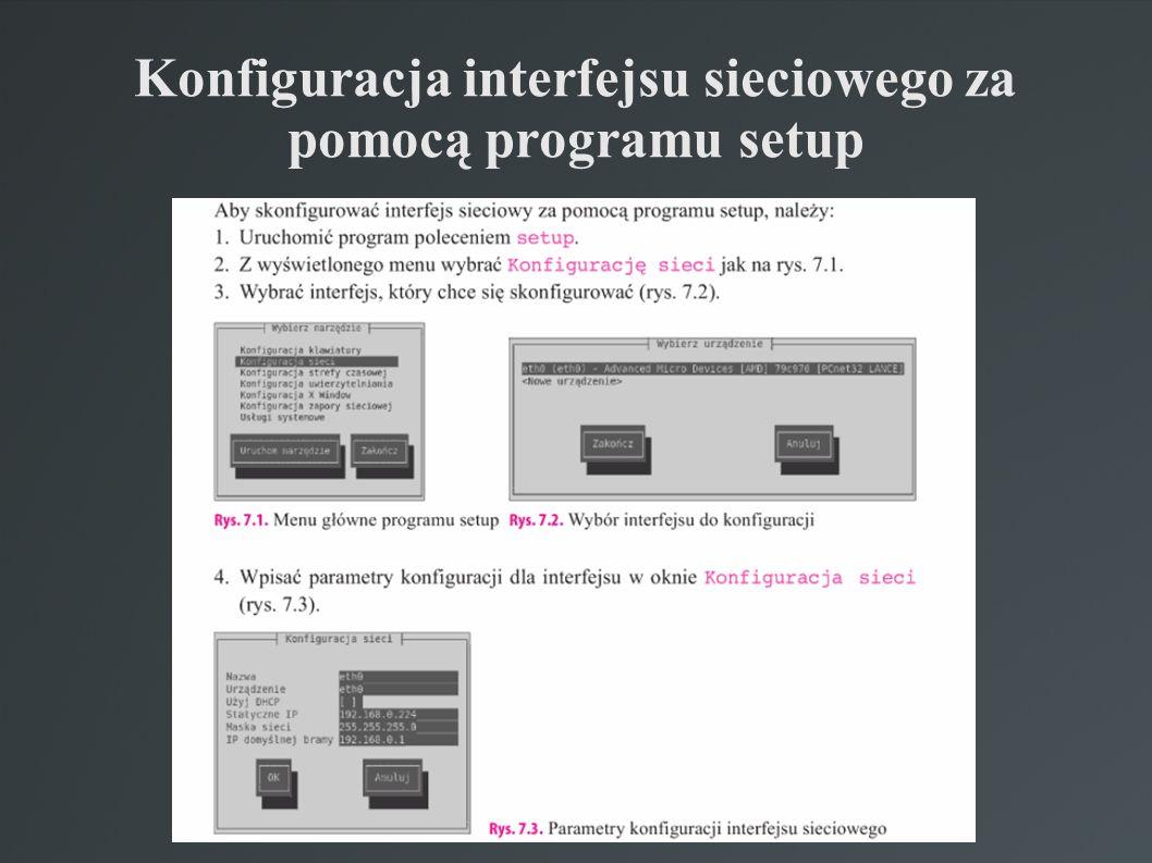 Konfiguracja interfejsu sieciowego za pomocą programu setup