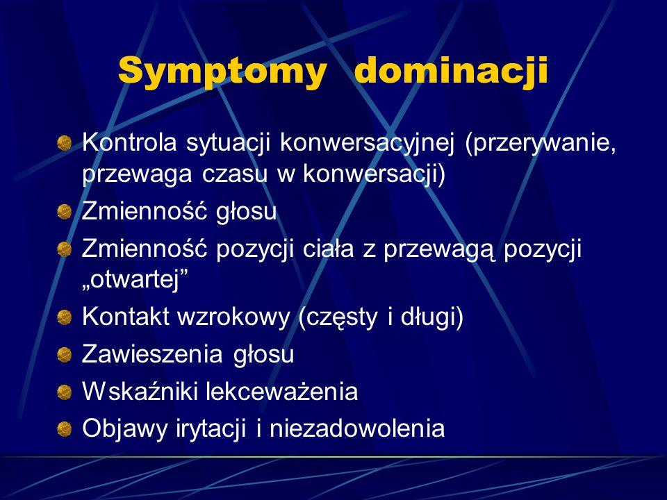 Symptomy dominacji Kontrola sytuacji konwersacyjnej (przerywanie, przewaga czasu w konwersacji) Zmienność głosu Zmienność pozycji ciała z przewagą poz