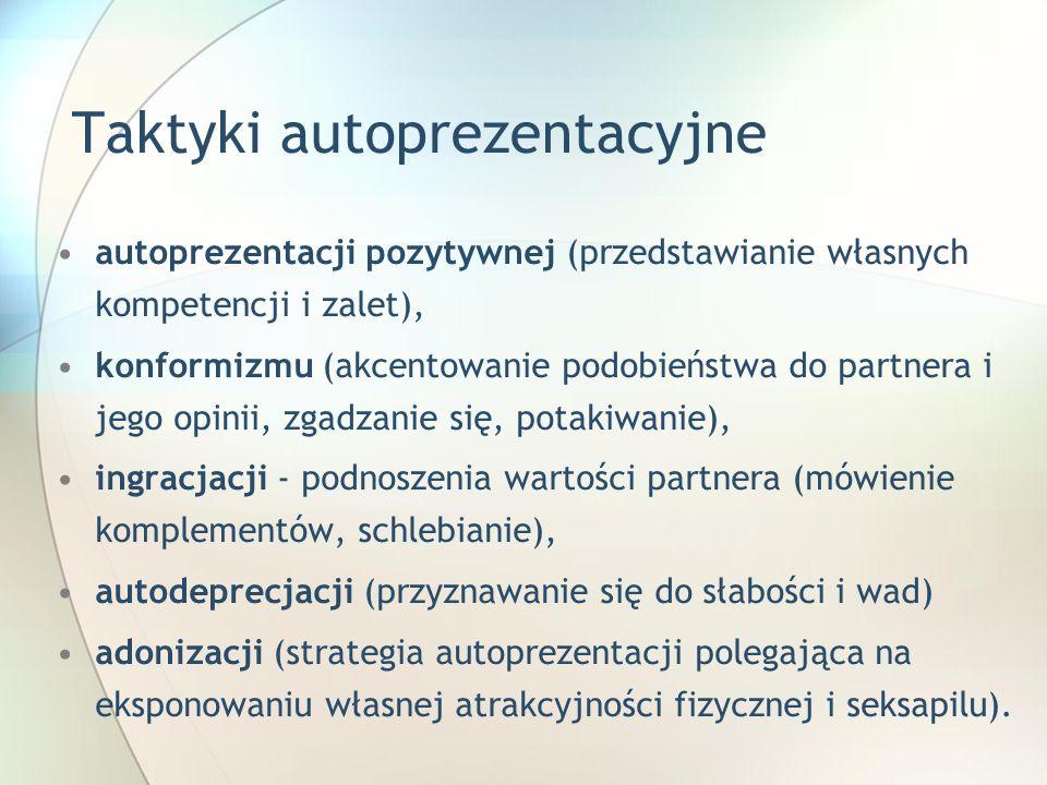 Taktyki autoprezentacyjne autoprezentacji pozytywnej (przedstawianie własnych kompetencji i zalet), konformizmu (akcentowanie podobieństwa do partnera
