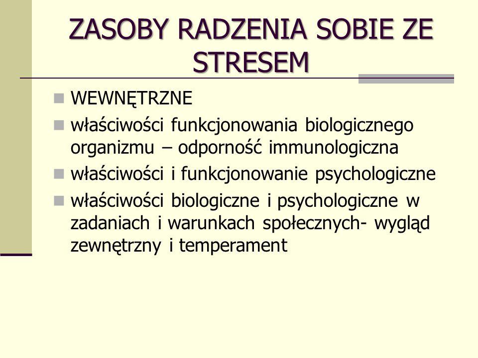 ZASOBY RADZENIA SOBIE ZE STRESEM WEWNĘTRZNE właściwości funkcjonowania biologicznego organizmu – odporność immunologiczna właściwości i funkcjonowanie psychologiczne właściwości biologiczne i psychologiczne w zadaniach i warunkach społecznych- wygląd zewnętrzny i temperament