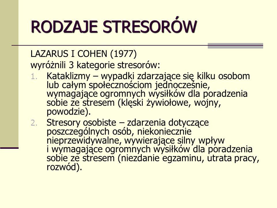 RODZAJE STRESORÓW LAZARUS I COHEN (1977) wyróżnili 3 kategorie stresorów: 1.