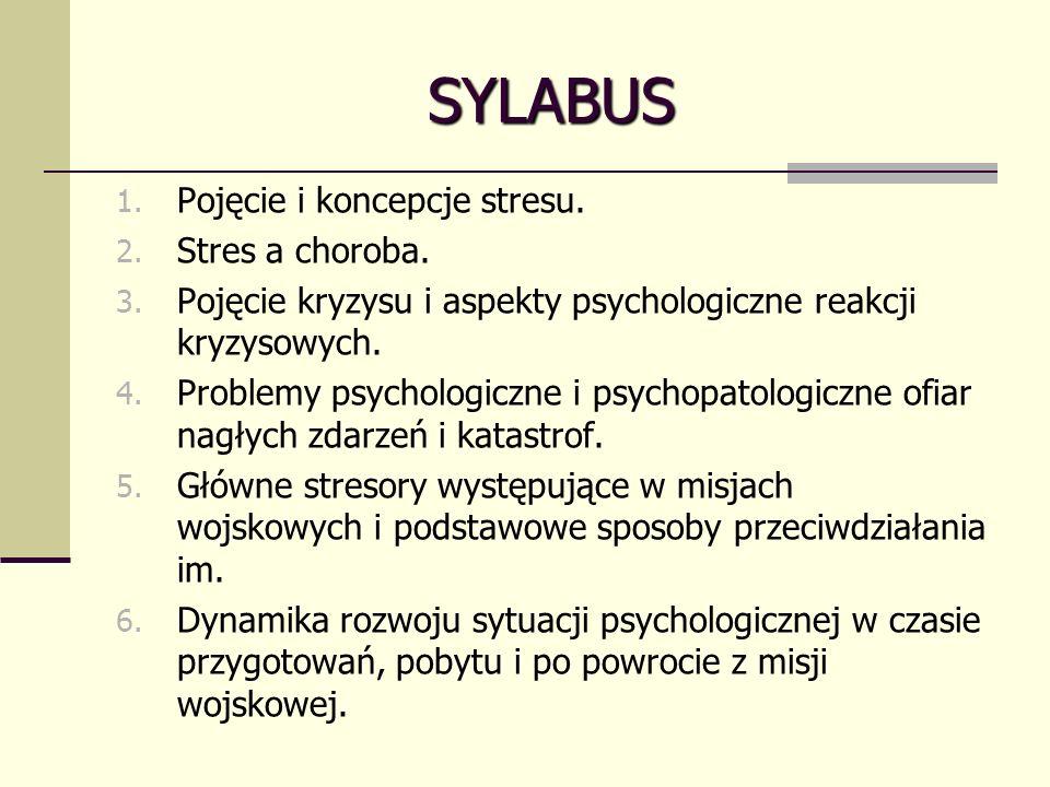 SYLABUS 1.Pojęcie i koncepcje stresu. 2. Stres a choroba.