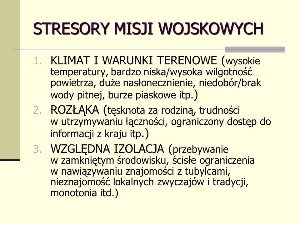 STRESORY MISJI WOJSKOWYCH 1.