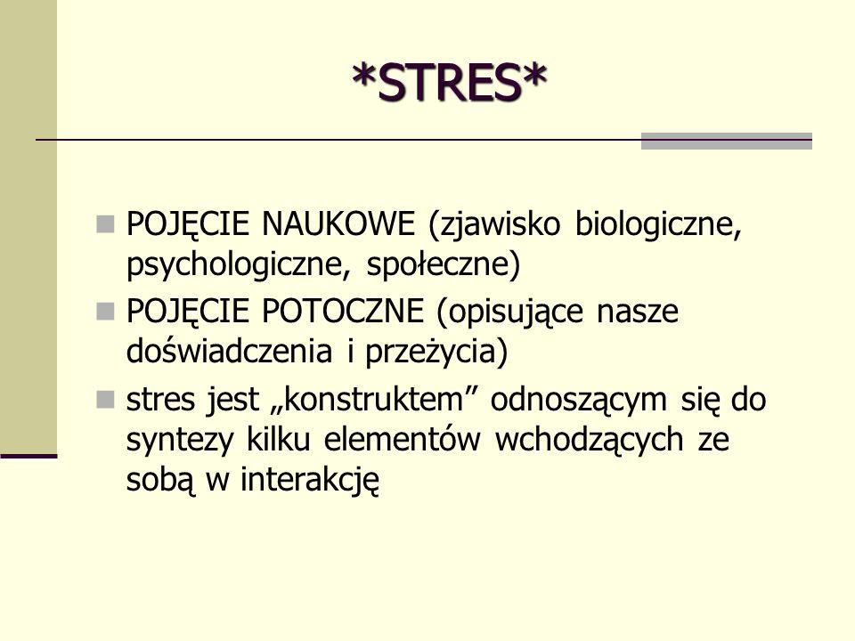 *STRES* POJĘCIE NAUKOWE (zjawisko biologiczne, psychologiczne, społeczne) POJĘCIE POTOCZNE (opisujące nasze doświadczenia i przeżycia) stres jest konstruktem odnoszącym się do syntezy kilku elementów wchodzących ze sobą w interakcję