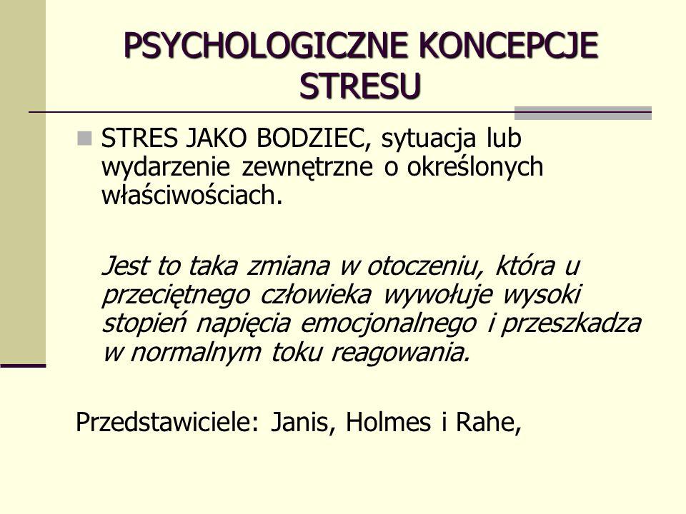 PSYCHOLOGICZNE KONCEPCJE STRESU STRES JAKO BODZIEC, sytuacja lub wydarzenie zewnętrzne o określonych właściwościach.