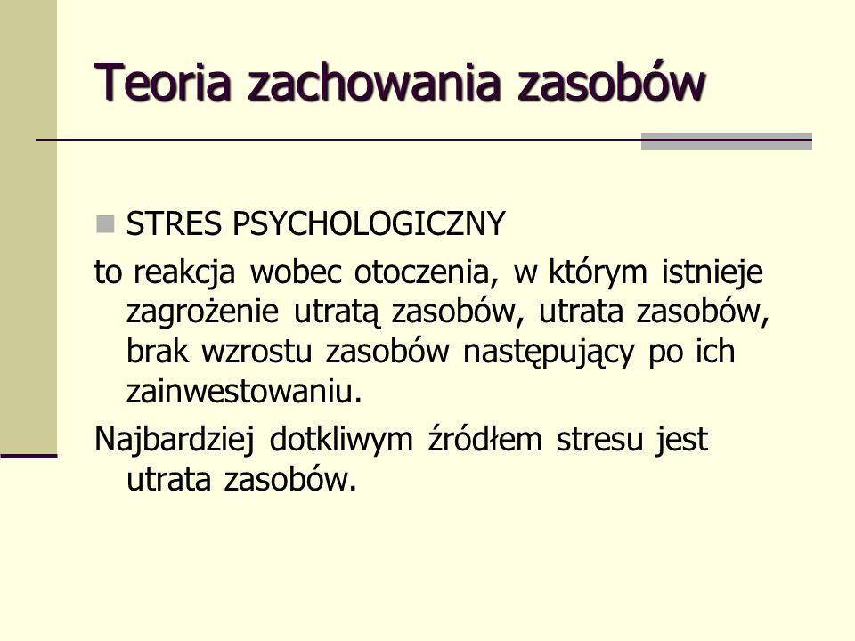 Teoria zachowania zasobów STRES PSYCHOLOGICZNY to reakcja wobec otoczenia, w którym istnieje zagrożenie utratą zasobów, utrata zasobów, brak wzrostu zasobów następujący po ich zainwestowaniu.