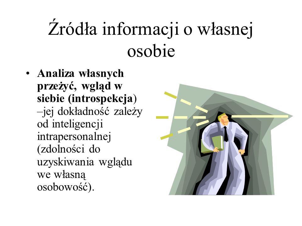 Źródła informacji o własnej osobie Analiza własnych przeżyć, wgląd w siebie (introspekcja) –jej dokładność zależy od inteligencji intrapersonalnej (zdolności do uzyskiwania wglądu we własną osobowość).