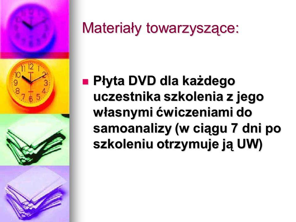 Materiały towarzyszące: Płyta DVD dla każdego uczestnika szkolenia z jego własnymi ćwiczeniami do samoanalizy (w ciągu 7 dni po szkoleniu otrzymuje ją