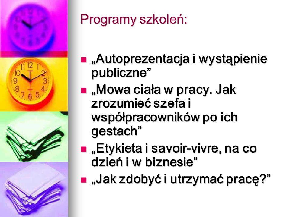 Programy szkoleń: Autoprezentacja i wystąpienie publiczne Autoprezentacja i wystąpienie publiczne Mowa ciała w pracy.