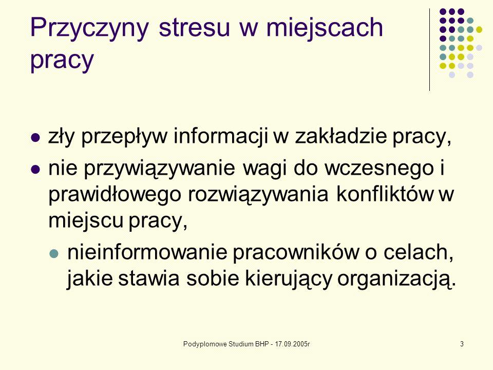 Podyplomowe Studium BHP - 17.09.2005r3 Przyczyny stresu w miejscach pracy zły przepływ informacji w zakładzie pracy, nie przywiązywanie wagi do wczesnego i prawidłowego rozwiązywania konfliktów w miejscu pracy, nieinformowanie pracowników o celach, jakie stawia sobie kierujący organizacją.