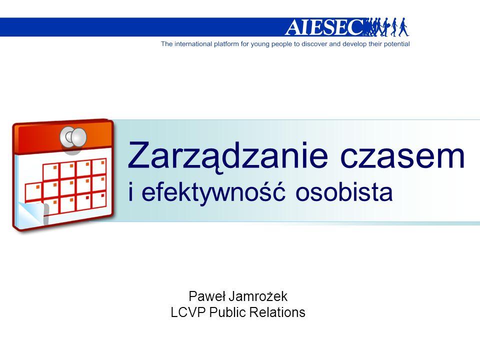 Zarządzanie czasem i efektywność osobista Paweł Jamrożek LCVP Public Relations