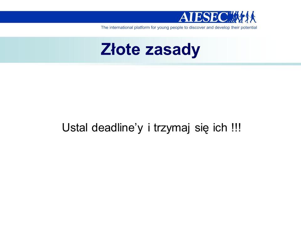 Złote zasady Ustal deadliney i trzymaj się ich !!!