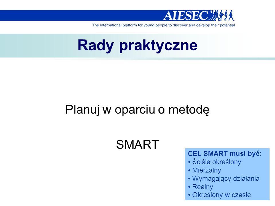 Rady praktyczne Planuj w oparciu o metodę SMART CEL SMART musi być: Ściśle określony Mierzalny Wymagający działania Realny Określony w czasie