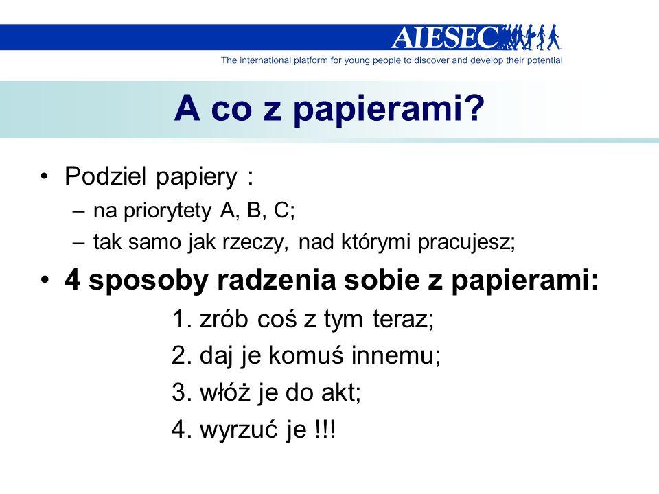 A co z papierami? Podziel papiery : –na priorytety A, B, C; –tak samo jak rzeczy, nad którymi pracujesz; 4 sposoby radzenia sobie z papierami: 1. zrób
