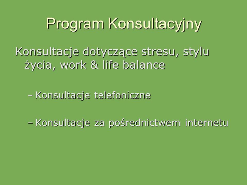 Program Konsultacyjny Konsultacje dotyczące stresu, stylu życia, work & life balance –Konsultacje telefoniczne –Konsultacje za pośrednictwem internetu