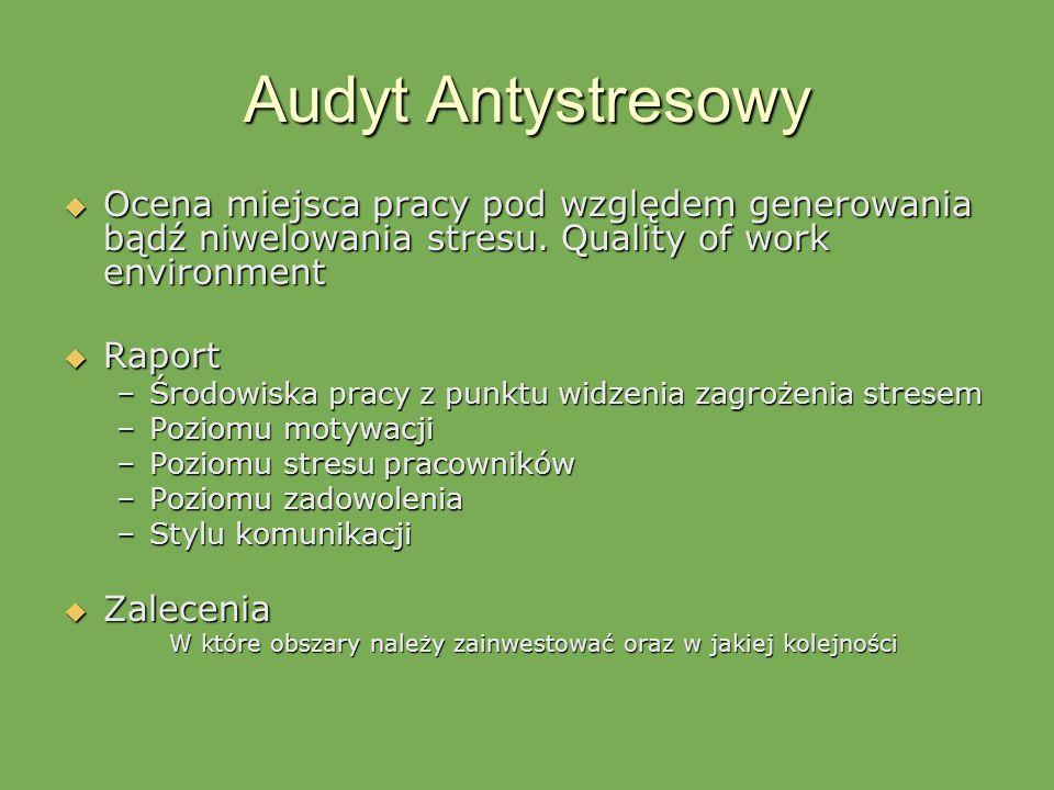 Audyt Antystresowy Ocena miejsca pracy pod względem generowania bądź niwelowania stresu. Quality of work environment Ocena miejsca pracy pod względem