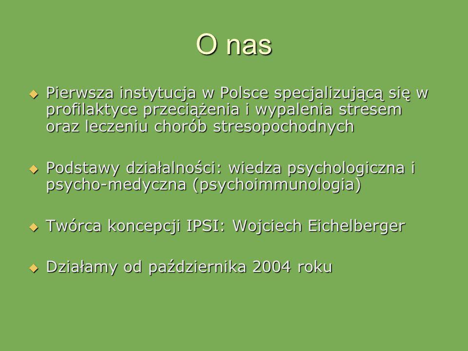 O nas Pierwsza instytucja w Polsce specjalizującą się w profilaktyce przeciążenia i wypalenia stresem oraz leczeniu chorób stresopochodnych Pierwsza i